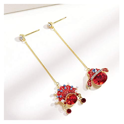 LDH Asymmetrical Tassel Earrings for Girls Peking Opera Facial Makeup Element Earrings Female Red Facial Makeup Cubic Zirconia Stud Earrings