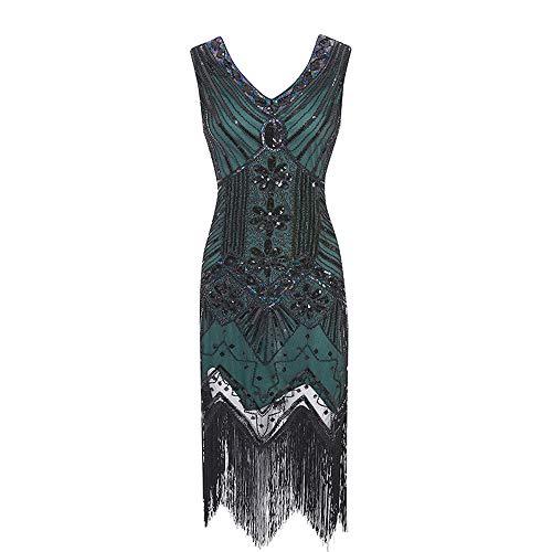 Lookit Like 1920er Jahre Flapper Kleid Set Vintage Gatsby Perlen Pailletten Fransen Sexy Party Kostüm für Frauen Mädchen