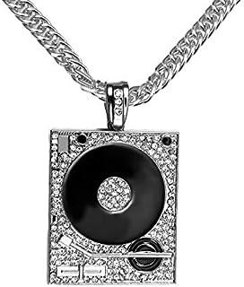 Europe 18k Silver Plated Hip Hop Men's Punk Style DJ Phonograph Pendant Necklace Men Rock Rap Cuban Chain Necklace