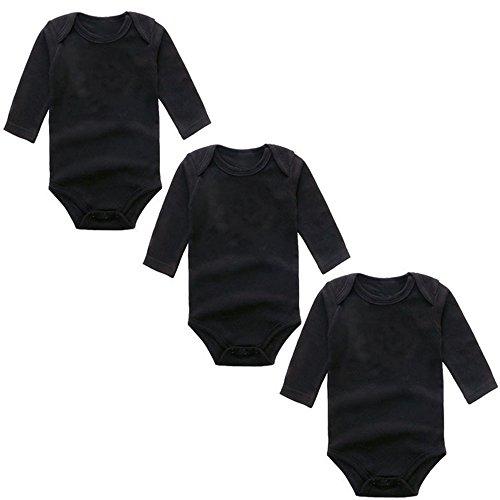 BINIDUCKLING Unisex Baby Body Langarm 3er Pack Schwarz 18 Monate