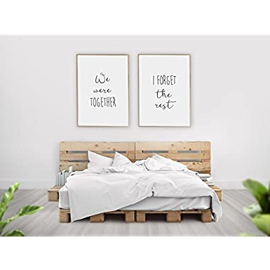 We Were Together I Forget The Rest Wall Decor / Set of 2 Prints / Walt Whitman Quote, Farmhouse Bedroom Decor, Romantic Artwork, Minimalist Decor / UNFRAMED (11 x 14 Inches)