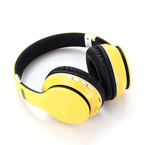 Wsaman Auriculares para DJ, Carga Rápida Auriculares Bluetooth, con Micrófono Integrado Inalambricos Cascos, para Deportes, Oficina en Casa, Trabajo,Amarillo