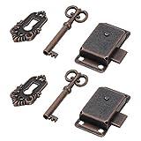 MOPOIN Cerradura vintage para puerta de armario con llave para buzones, armarios, cajas de herramientas, 2 unidades
