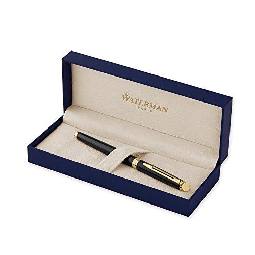 Waterman Hémisphère rotulador roller, con adorno de oro de 23quilates, punta fina con cartucho de tinta negra, estuche de regalo, color negro brillante