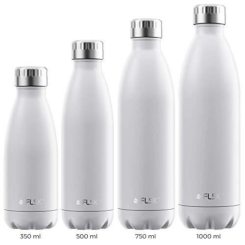FLSK La bouteille isotherme originale conserve la chaleur pendant 18 heures et le froid pendant 24 heures (couleur blanc, taille : 500 ml).
