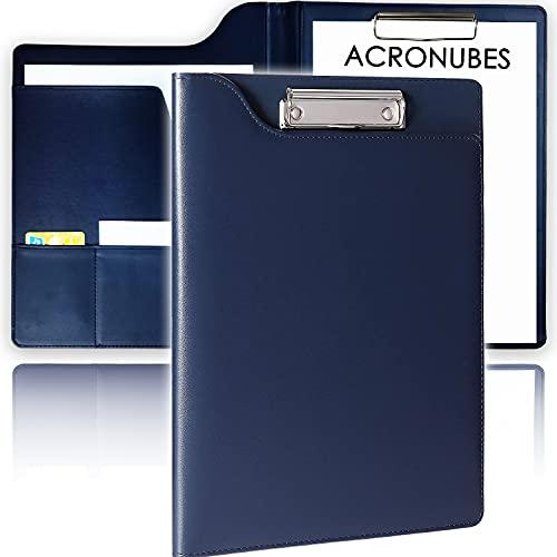 ACRONUBES バインダー A4 クリップボード 超薄型 高級感 革 クリップ クリップファイル 贈り物 ギフト 2021 新しいデザイン 事務用品 贈り物 名刺ホルダー 多機能 二つ折り ペンホルダー ポケット付き(青)