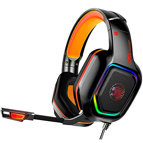 Gaming Headset, UNIOJO Xbox One Headset, PS4 Headset, Gaming Headphones with Microphone, LED Light, Stereo Bass Surround, Soft Memory Earmuffs for PS4 PS5 Controller Xbox One X, PC Laptop Games Orange