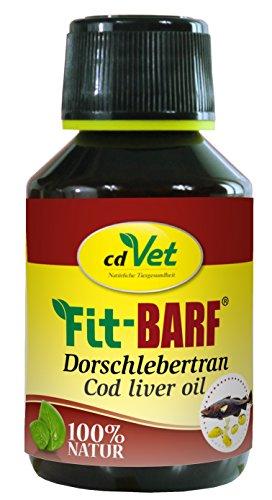 cdVet Naturprodukte Fit-BARF Dorschlebertran 100 ml - Hund - Lieferant für Omega-3-Fettsäuren und Vitamin D - Knochenaufbau - Regulierung des Calcium-Haushalt - Rohfütterung - BARFEN -