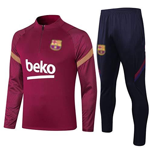 HIAO Camiseta del Club Europeo Entrenamiento de fútbol Traje Club de jóvenes Adultos de Manga Larga con Capucha de la Chaqueta Transpirable Jogging Plus Traje de Pantalones LQ00158 A00201 (Size : L)