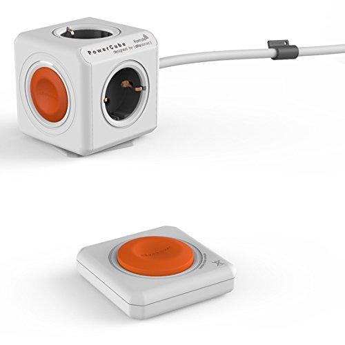 allocacoc Eco PowerCube Remote Extended mit Power Remote Fernbedienung, 4 fach Steckdose zum Stromsparen, 230V Schuko