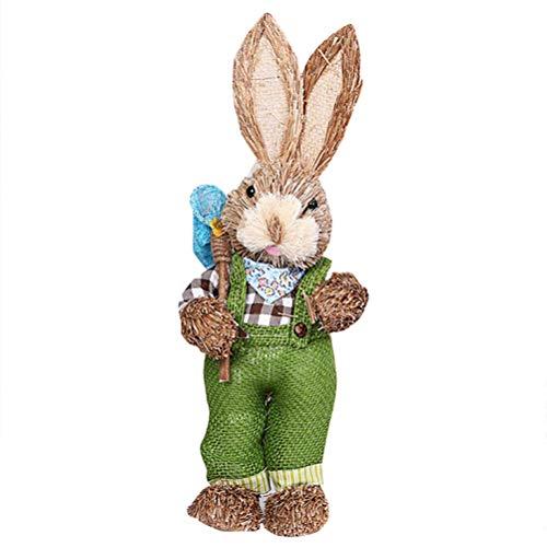 Qwing Decoración de conejo de Pascua, conejitos de paja, conejo de simulación de Pascua, conejo de paja artificial, figura de conejo para el hogar, jardín, decoración de boda, regalos para niños