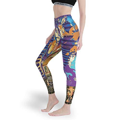 Damen-Leggings im antiken ägyptischen Stil, enganliegend, für Fitnessstudio, Bauchkontrolle, schmale Passform Gr. XL, weiß