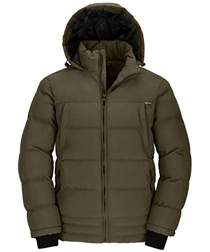 Wantdo Men Winter Padded Cotton Outwear Coat Jacket with Hood Army Green X-Large