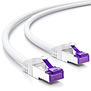 deleyCON 20m RJ45 Cable de Conexión Ethernet & Red con Cable en Bruto CAT7 S-FTP PiMF Blindaje Gigabit LAN SFTP Cobre DSL Conmutador Enrutador Patch Panel - Blanco