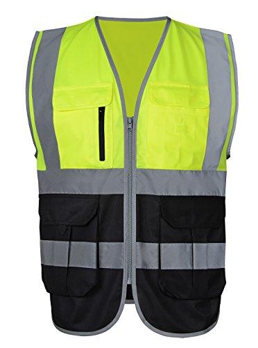 Atmungsaktiv Warnweste Starke Reflektierende Weste Sicherheitsweste mit Taschen - Fluoreszenz Grün und Schwarz XL