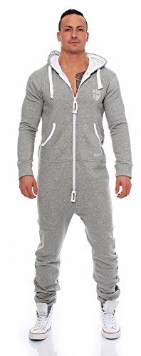Gennadi Hoppe Herren Jumpsuit Onesie Jogger Einteiler Overall Jogging Anzug Trainingsanzug Slim Fit,hell grau - 2
