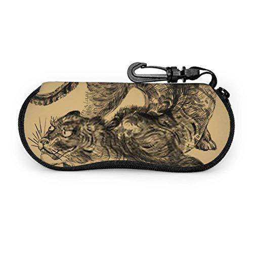 Estuche de gafas, diseño de grabado japonés Tiger Gafas de sol con estampado salvaje Estuche blando Estuche de gafas de cremallera de neopreno ultraligero con mosquetón, estuche de gafas grandes