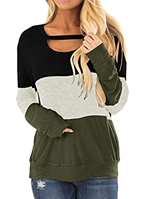 Topstype Women's Fall Color Block Chest Cutout Tunics Long Sleeve Shirts Scoop Neck Blouse Casual Loose Fit Tops Army Green