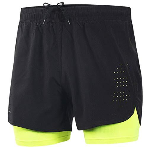 YJIUJIU 2 en 1 - Pantalones cortos deportivos para hombre de verano de secado rápido transpirable para correr, maratón, ciclismo, entrenamiento, pantalones cortos, amarillo, xx-large