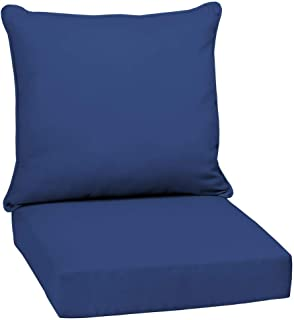 Arden Selections 24 x 24 Lapis Canvas Texture 2-Piece Deep Seating Outdoor Lounge Chair Cushion