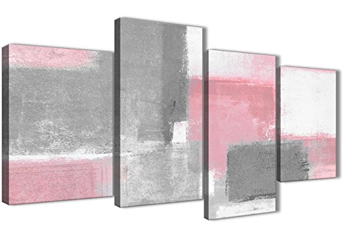 Wallfillers - Lienzo decorativo para dormitorio, color rosa, gris, 4378 a 130 cm, juego de impresiones