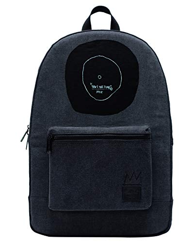 Herschel Jean-Michel Basquiat Now Is The Time Women Backpack Black 100% Enzyme Washed Cotton Canvas Front Storage Pocket With Organizers and Key Clip Slim Cotton Webbing Shoulder Straps