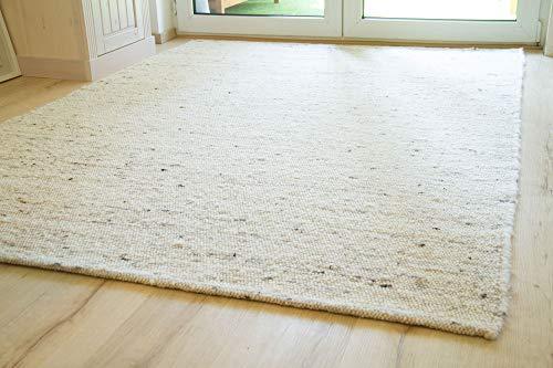 Steffensmeier Handweb Teppich Korinth | Gesunder Wollteppich | Beste Schurwolle | Natur, handgewebt, Größe: 160x230 cm