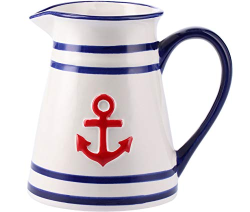 Tony Brown Hartwaren Maritime Milchkanne weiß mit roten Anker   Butterdose   Müslischale   Kaffeebecher   Speiseteller   Frühstücksteller aus Porzellan (Milchkanne)