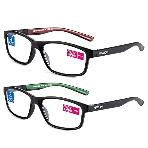 Computer Reading Glasses Blue Light Blocking Glasses Women Men 2 Pack(red and green, 1.0)