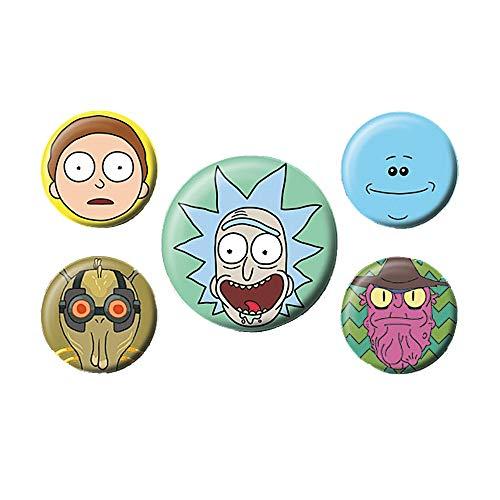 RICK AND MORTY Genuine 5 Piece Button Badge Set Adult Swim TV