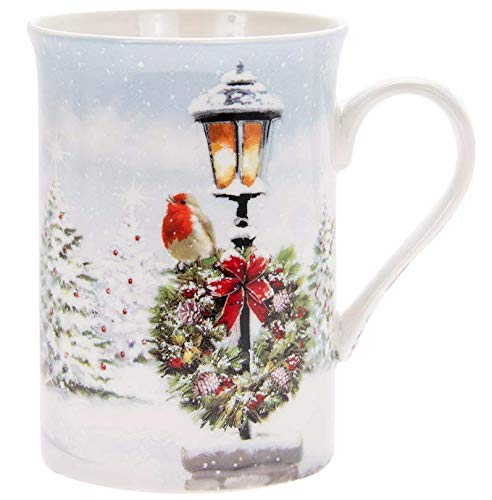 Christmas Festive Robin Winter Snow Scene Fine China...