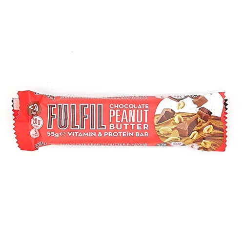 Fulfil Chocolate Peanut Butter Vitamin and Protein Bar 55g, Great Taste is Key When it Comes to Snacking, Pack of 12