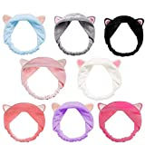 8pcs Cat Ears Headbands - Elastic Women 's Lovely Etti Hair Band, Spa Shower cara lavado Hairband Facial diadema Maquillaje Wrap Head Band lavable tela colorida adapta a todos los tamaños de cabeza