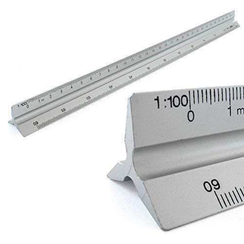 Dreikantmaßstab Alu Dreieckig Maßstab Lineal Scale Ruler 1: 100, 1: 200, 1: 250, 1: 300, 1: 400, 1: 500, 30cm lang Dreikantlineal