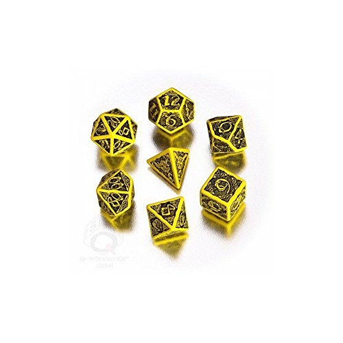 Celtic 3D Revised Yellow & Black Dice Set (7) [Refreshed Design]