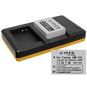 2 Baterías + Cargador Doble (USB) para NB-10L / Canon PowerShot G15, G16, G1 X, G3 X, SX40 HS, SX50 HS, SX60 HS (Contiene Cable Micro USB)