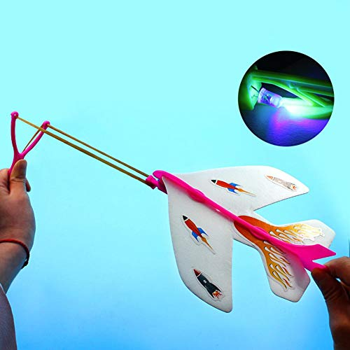 Ridecle Amazing Aircraft Model with Led Light Arrow Rocket Helicopter Flying Toy Party Fun Gift Elastic Plane Toy
