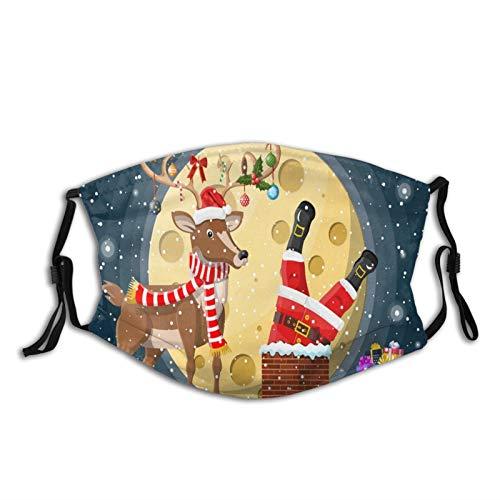 MayBlosom Weihnachtsmann mit Tasche mit Geschenke im Haus Schornstein Wiederverwendbare Erwachsene Staubmaske mit Kohlefilter