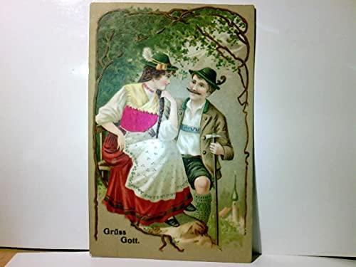Grüss Gott. Alte, sehr schöne Präge AK farbig, gel. 1908. Mann in Lederhose, Frau im Dirndl auf einer Bank, Schultertuch, Leiberl von Ihr samtartig belegt, Liebespaare, Seltenes.