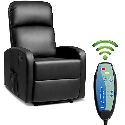 Giantex Massage Recliner Chair w/Remote Control, 5 Vibration Modes, Adjustable Footrest Design, PU Leather & Padded Seat, Modern Ergonomic Lounge Chaise for Living Room Office (Black)