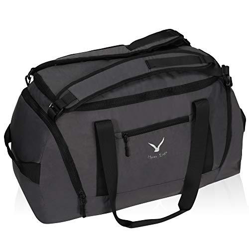 Hynes Eagle 50L Duffel Rucksack 3-Weg Reisetasche Gepäck Gym Sporttasche mit Schuhfach für Damen und Herren Grau