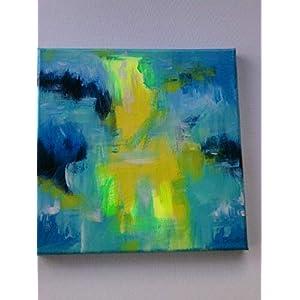 """""""Seaglass"""", Seeglas, abstrakt, Acryl auf Leinwand, 20x 20 cm, Original,neu,"""