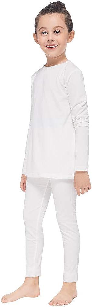 MANCYFIT Thermal Underwear for Girls Fleece Lined Long Johns Set Kids Base Layer Ultra Soft 2 Pack