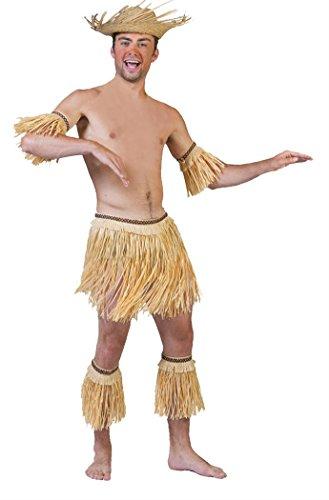 Boys 5-Piece Tribal Hula Dance Set/Skirt, Armbands and Legbands Tan