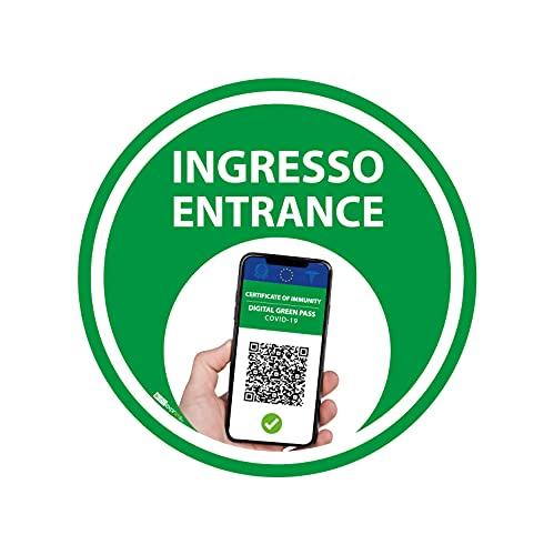 Adesivo Bollino Verde - Green Pass - Certificazione Verde - entrata, ingresso, entrance (25cm) (3)