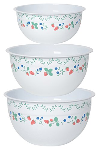 Now Designs Mix and Serve Steel Bowls, Set of Three, Berry Patch