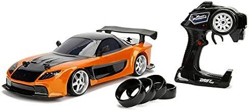 Jada Toys Fast & Furious Han's Mazda RX-7 Drift RC Car, 1: 10 Scale 2.4Ghz Remote Control Orange & Black, Ready to Run, USB Charging (Standard) (99700)
