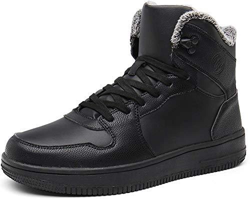 Gaatpot Herren Damen Winterschuhe Schneestiefel Winter Hohe Sneakers Warm gefütterte Leder Schnür Stiefel Boots Schuhe Schwarz 43EU