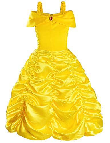 Princess Costume Dress for Girls Birthday Party Fancy Dress Up Yellow 8-10 Years