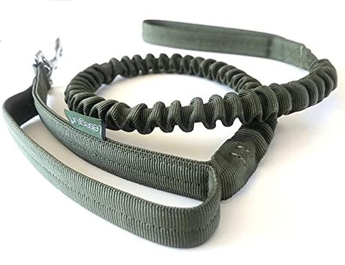 Leisegrün® Hundeleine Nylon | Elastische Führleine für Hunde mit Kurzführer & Ruckdämpfer | Länge 120 cm bis 170 cm | Olive Grün